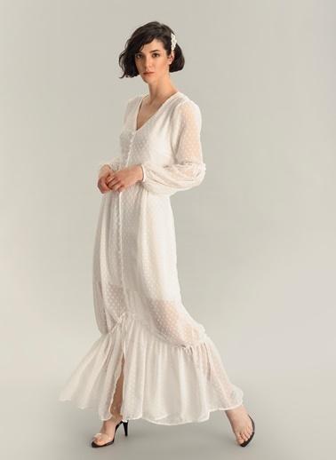 Agenda Düğme Detaylı Maxi Elbise Beyaz